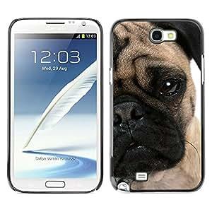 YiPhone /// Prima de resorte delgada de la cubierta del caso de Shell Armor - Pug Face Puppy Wrinkled Eye Muzzle Dog - Samsung Galaxy Note 2 N7100