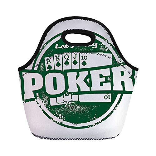 Poker Tournament Decorations Durable Lunch Bag,Lets Play Poker Stamp Royal Flush Grunge Vintage Full House for School Office,11.0