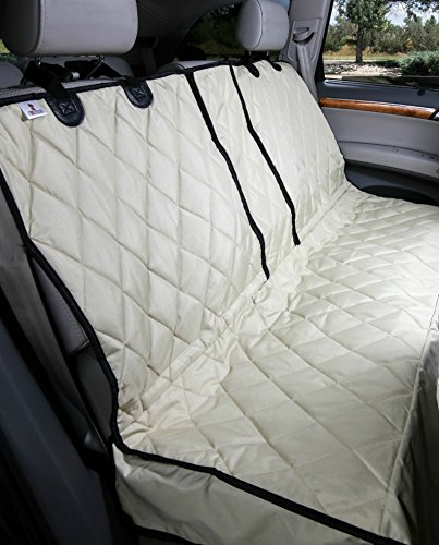 4Knines Dog Seat Cover Without Hammock for Fold Down Rear Bench Seat 60/40 Split and Middle Seat Belt Capable - Tan Regular - Fits Most Cars, SUVs, and Small Trucks - USA Based Company