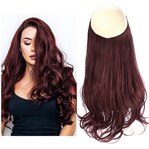 - SARLA Halo Hair Extension Secret Invisiable Flip Hidden Wire Crown Wine Red Natural Curly Long Synthetic Hairpiece For Women Japan Heat Temperature Fiber 18
