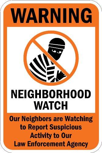 "SmartSign 3M High Intensity Grade Reflective Sign, Legend ""Warning: Neighborhood Watch"" with Graphic, 18"" high x 12"" wide, Black/Orange on White"