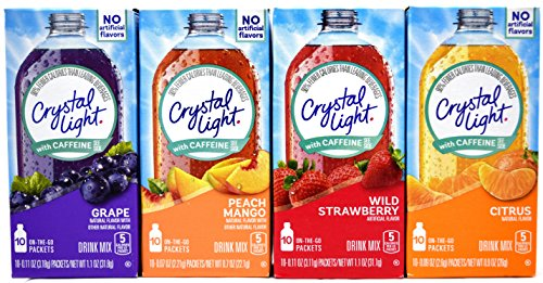 Crystal Light On The Go With Caffeine Drink Mix Variety Pack, 4 Flavors, 12 Boxes of Each Flavor, 48 Boxes Total by Crystal Light