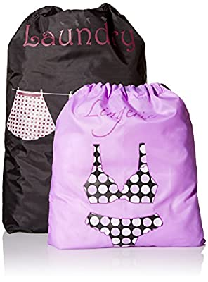PURE STYLE Girlfriends Women's Travel Drawstring Bag Set Shoe and Laundry