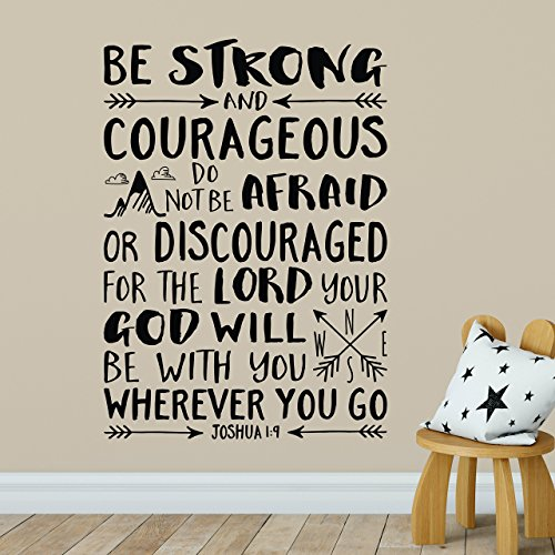 Joshua 1:9 Vinyl Wall Decal 42 by Wild Eyes Signs Be Strong and Courageous, Do not be afraid or discouraged, Explorer Nursery, Arrows, Mountains, Nursery Bible Verse, JOS1V9-0042