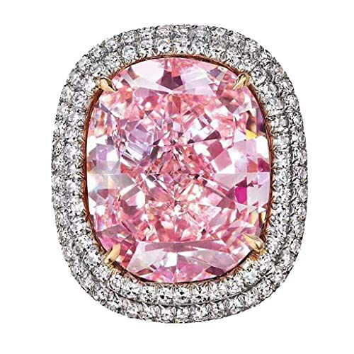 - chenJBO 925 Silver Pink Diamond Geometric Round Edge Square Ring Promise Ring Wedding Engagement Ladies Jewelry Gift Size6-10 (10)