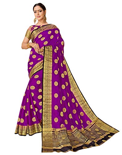 (Viva N Diva Sarees for Women's Banarasi Art Silk Purple Zari Woven Butti with Border Saree with Un-Stiched Blouse Piece,Free Size)