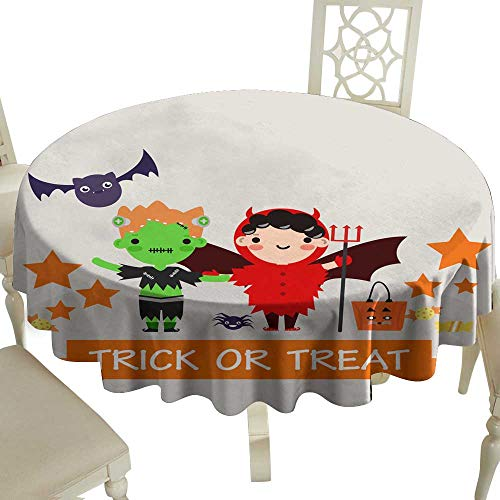 WinfreyDecor Oil-Proof and Leak-Proof Tablecloth Halloween Background with Lovely Costumes Indoor Outdoor Camping Picnic D59]()