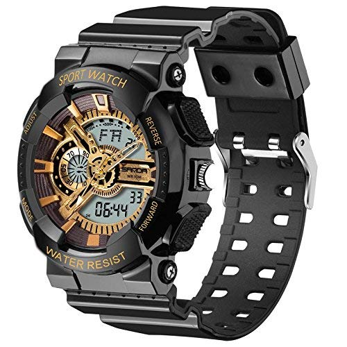 Waterproof Watch for Boys With Alarm Digital Analog Chronograph Electronic Sport Wrist Watch Black+Gold by WZTSXB