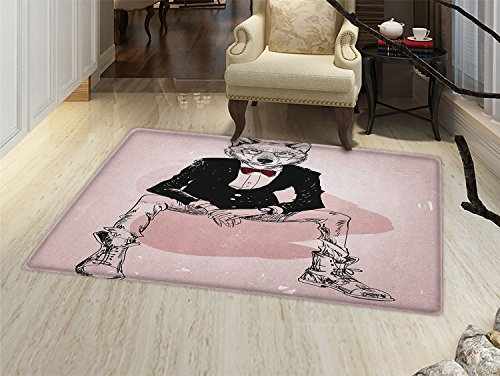 smallbeefly Indie Bath Mats Carpet Hipster Portrait of Sitting Wild Wolf with Glasses Smart Casual Outfit Floor Mat Pattern Baby Pink Black Burgundy ()