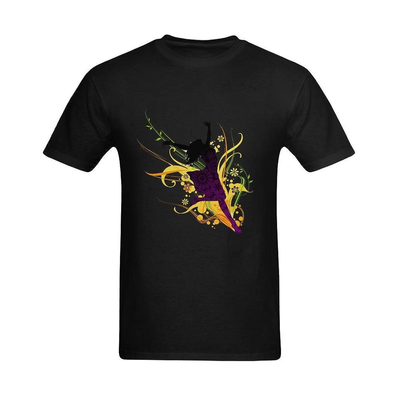 EgluxDesign Men's A Dancing Girl Graphic Printed Crew Neck Tshirt