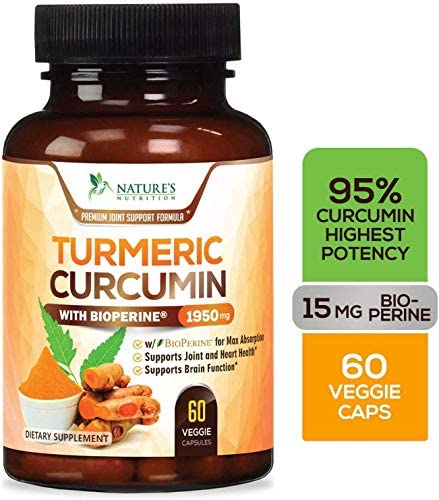 Turmeric Curcumin Highest Potency 95 Curcuminoids 1950mg with BioPerine Black Pepper for Ultra High Absorption, Made in USA, Best Vegan Joint Support Pills by Natures Nutrition – 60 Capsules