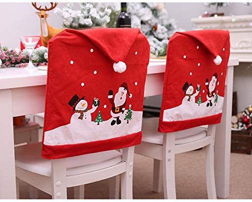 Santa Claus Red Hat Chair Covers Decorative Christmas Dinner Table Party Home Decoration Cloth Chairs Cover Chair Cap Sets Slipcovers Protector Sets for Christmas Banquet Holiday Festival Decor -