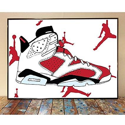 pretty nice 010ea c815f Amazon.com: Air Jordan 6 Carmine Art Print: Posters & Prints