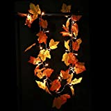 2Pcs Xmas Thanksgiving Decorations Lighted Fall Garland, Xmas Thanksgiving Decor String Lights Maple Leaves Fairy Lights 8.2 Feet 20 LED (Warm White) (2)