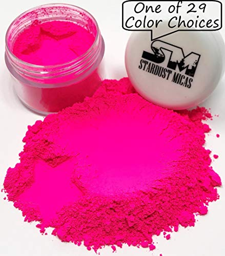 (Stardust Mica Neon Pigment Powder Dye for Soap Making, Slime Coloring, Epoxy Resin, Bright True Fluorescent Colors Cold Process Color Stable Matte Colorant Poppin Pink)