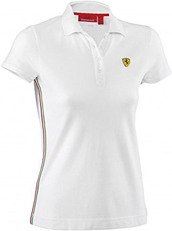Ferrari - Polo - Con los botones - para mujer blanco L: Amazon.es ...