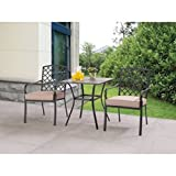 Ceramic Tile Tabletop Comfortable Ventilated Seating 3pc Tan Bistro Set
