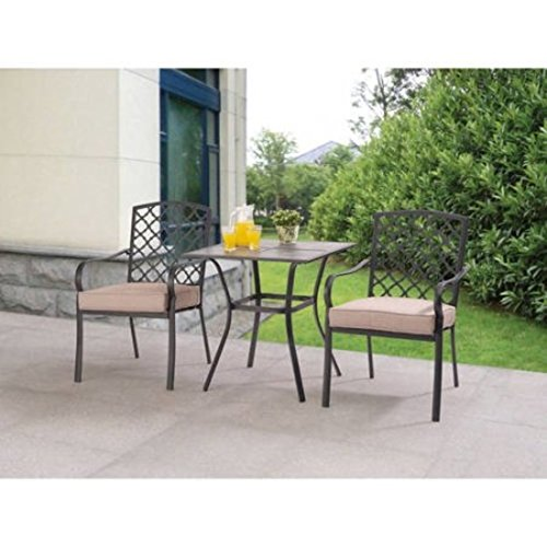 Ceramic Tile Tabletop Comfortable Ventilated Seating 3pc Tan Bistro Set - Weathered Pine Log Set