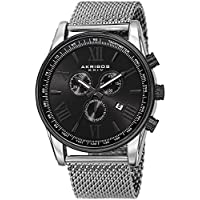 Akribos XXIV - Reloj de metal AK813SSB negro para hombres con banda de malla de acero inoxidable