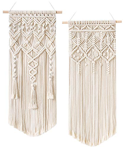 "Mkono 2 Pcs Macrame Woven Wall Hanging Boho Chic Bohemian Home Geometric Art Decor - Beautiful Apartment Dorm Room Decoration, 28"" L x 13"" W"