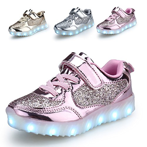 SMOEYAKIO Kids LED Light Up Shoes USB Charge Casual Sneakers for Boys GirlsSMOEYAKIO
