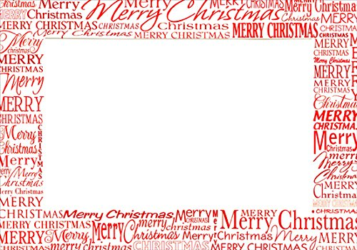 Red Merry Christmas Photo Holders - Box of 18 Designer Greetings Christmas - Cards Inserts For Christmas