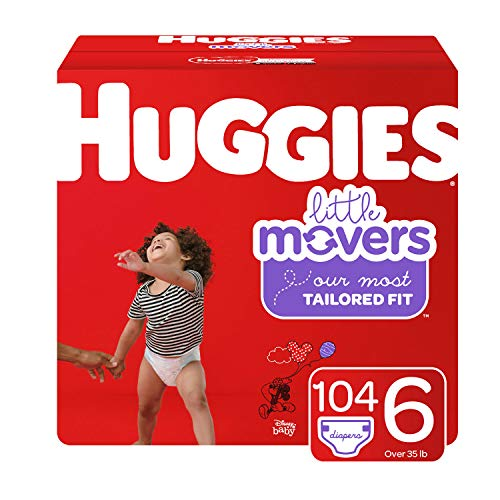 Huggies Little Movers Diapers, Size 6 (35+ lb.), 104 Ct, Economy Plus Pack (Packaging May Vary) ()