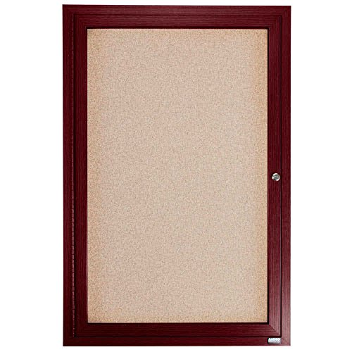 TableTop King CBC3624R 36'' x 24'' Enclosed Indoor Hinged Locking 1 Door Bulletin Board with Cherry Frame by TableTop King