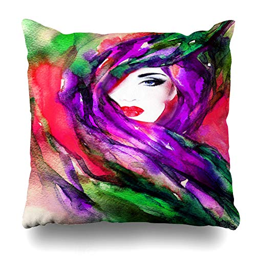Ahawoso Throw Pillow Cover Brown Indian Face Hiding Her Girl Behind Veil Watercolor Jewelry Arab Design Marriage Home Decor Pillowcase Square Size 18
