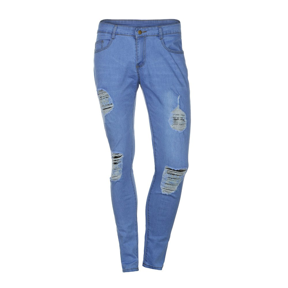 iZHH Men's Stretchy Ripped Skinny Biker Jeans Destroyed Taped Slim Denim Pants(Blue,L)