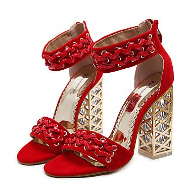 Sandales Femme Eu35 Uk3 Chaussures Talon Similicuir Bottes Cn34 Printemps Cristal Fschooly Confort Rouge Et Pour Nouveaut Us5 Mariage Casual Noir Rouge 8wq1n