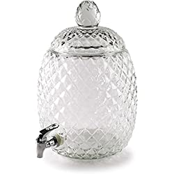 Circleware 69152 Pineapple Yorkshire Mason Jar Beverage Dispenser with Glass Lid, Glassware for Water, Juice, Beer, Wine, Liquor, Kombucha Iced Tea Punch and Cold Drinks, 2.1 Gallon, Huge