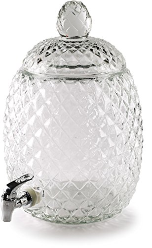 Circleware 98339 Sun Tea Jar Beverage Dispenser and Glass Lid, Party Entertainment Home Kitchen Glassware Water Pitcher for Juice, Beer, Kombucha & Cold Drinks, Lead-Free, Huge 2.1 Gallon, Pineapple