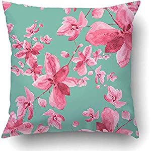 Throw Pillow Covers Pink Drawing Watercolor Orchid Flowers B Purple Sketch Abstract Anniversary 18 x 18 Inch Square Hidden Zipper Polyester Home Sofa Cushion Decorative Pillowcase 59
