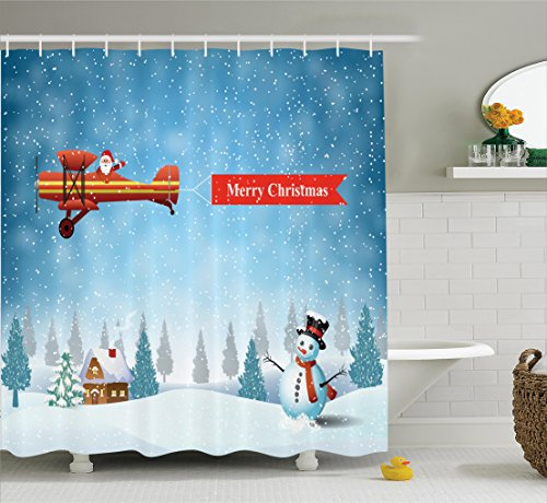 Christmas Decorations Shower Curtain Set By Ambesonne 69W X 70L Inches