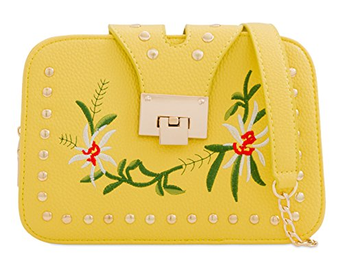 mate's Clutch LeahWard Handbags Bridal Wedding Floral Bag Bridal Faux Yellow 2248 Women's Leather Uqqz1Bf