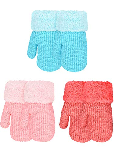 3 Pairs Kid Toddler Mittens Winter Warm Knitted Gloves Double-layer Stretch Mittens with Fleece Lining, 3 Colors (Color Set 1)