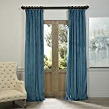 Cheap 52″ W x 84″ L (set of 2 Panels) Pinch Pleat 90% Beige Lining Blackout Velvet Solid Curtain Thermal Insulated Patio Door Curtain Panel Drape For Traverse Rod and Track, Everglade Teal Curtain