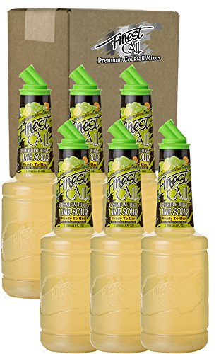 Finest Call Premium Juice Lime Sour Drink Mix, 1 Liter Bottle (33.8 Fl Oz), Pack of 6