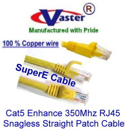 (Vaster SKU - 20679, 25 Ft High Speed Special (100% Copper 24Awg wire Yellow Color) UTP Cat5 Enhance 350Mhz RJ45 Snagless Straight Patch Cable)