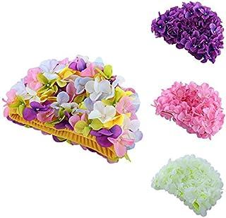ShopSquare64Casquette de Motif de Fleurs délicates personnalisé Trois Dimensions pétales Bonnets de Bain pour Cheveux Longs Vente