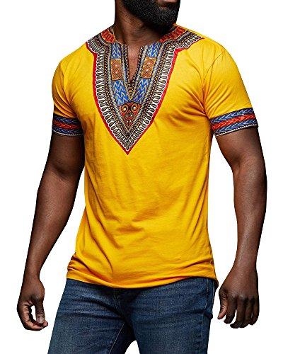 (Gtealife Men's African Print Dashiki T-Shirt Tops Blouse (Z-Yellow, S))