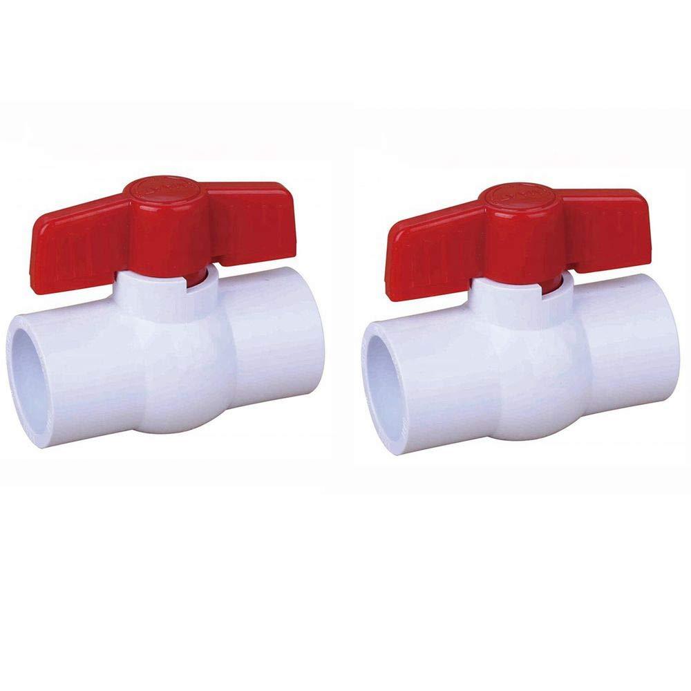 SHMONO 1/2'' Inline PVC Ball Valve, Compact T-Handle Shut-Off Valves, Socket (Slip) - 2 Pack
