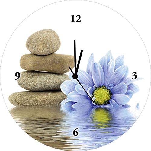 Artland Qualitätsuhren I Funk Wanduhr Designer Uhr Glas Funkuhr Größe: 35 Ø Zen Stein Weiß G1MY