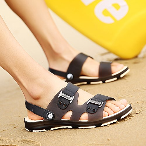 fankou Summer Sandals Men's Sandals Cleat Men's Outdoor Plastic Wear Cool Summer Bath Slippers Beach Shoes, 38, Black