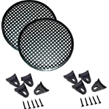 "1 Pair 6.5"" INCH WAFFLE SPEAKER SUB WOOFER METAL GRILLS WITH CLIPS AND SCREWS DJ-CAR-HOME"