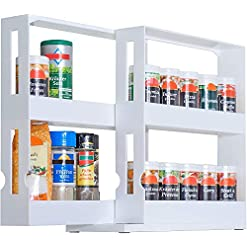 Kitchen UPP Spice Rack Extendable Plastic for Spice Jars up to 4.5 cm Diameter 2 Tier Spice Rack, White, Standard spice racks