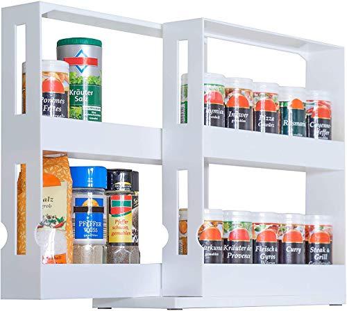 Kitchen UPP Spice Rack Extendable Plastic for Spice Jars up to 4.5 cm Diameter 2 Tier Spice Rack, White, Standard spice racks