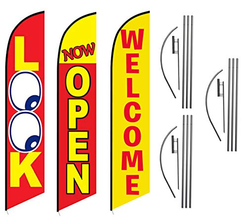 Look Now Open Welcome Red Yellow Advertising Feather Flag Kits Package | Includes 3 Banner Flags, 3 Flag Poles, and 3 Ground Stakes - Feather Flag Nation