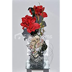 Stylish Bright Red Amaryllis & White Orchids Vase Floral Arrangement 85